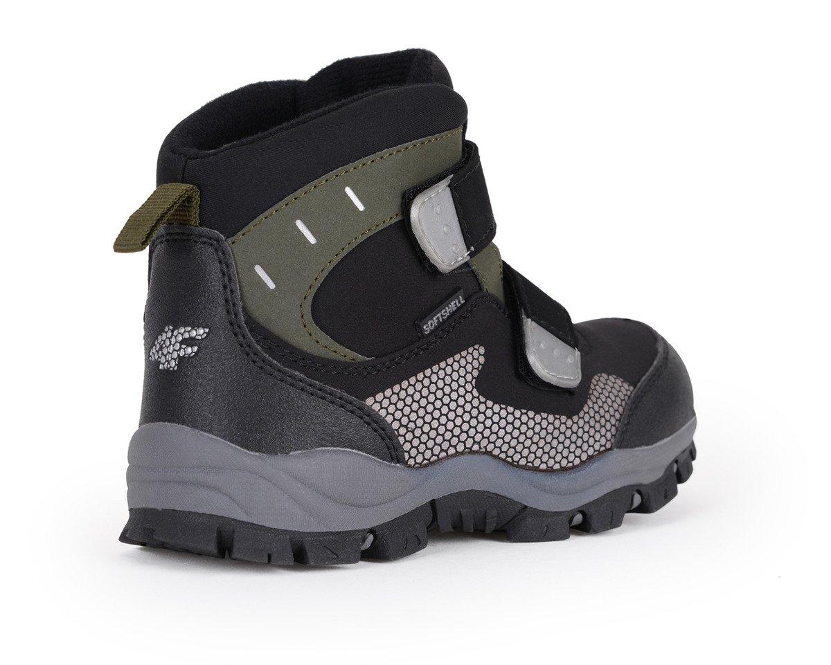 Buty zimowe chłopięce softshellowe HJZ18 JOBMW002 4F czarny
